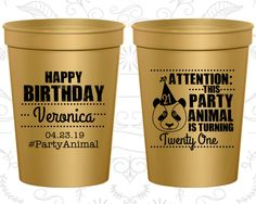 21st Birthday Party Cups, Custom Birthday Stadium Cups, party animal birthday, Animal Birthday Cups, Birthday Party Cups (20272)