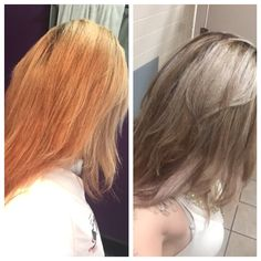 Wella T18 toner. Before and after.