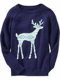 printed deer sweater