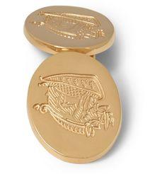 KINGSMAN  DEAKIN & FRANCIS ROSE GOLD-PLATED CREST CUFFLINKS  £297.91/ Approx.RM1,673
