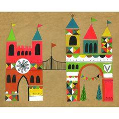 Mary Blair-influenced. Lisa Congdon Art + Illustration » village entrance