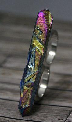 Rainbow Titanium Crystal Quartz Point Two Finger Ring Aurora Borealis Aura Silver Silver Size 5/6 by crystalelements1 on Etsy https://www.etsy.com/listing/229961848/rainbow-titanium-crystal-quartz-point