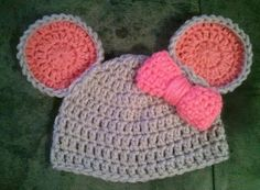 Baby Mouse Hat Bow in Grey Pink - Newborn Beanie Boy Girl Preemie Halloween Thanksgiving Christmas Photo Prop Tom and Jerry Winter Outfi