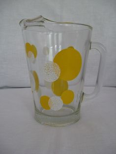 "Vintage New Bartlett Collins Yellow White Polka Dots 7.5"" Glass Lemonade Pitcher  | eBay"