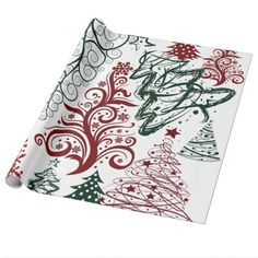 Red Green Holiday Christmas Tree Pattern Gift Wrap #zazzle