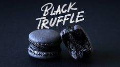 Black is the new black when it comes to this delish dessert with a rich chocolate truffle center. Macaron Recipe, Macaron Flavors, French Macaroons, Black Food, Black Truffle, Pastry Brushes, Food Dye, Cookie Icing, Ground Almonds