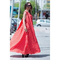Polka Dot Dress for Women, Red Maxi Dress, Summer Gowns, Cotton Red... ($99) ❤ liked on Polyvore featuring dresses, red maxi dress, long maxi dresses, maxi dresses, plus size white dress and long summer dresses