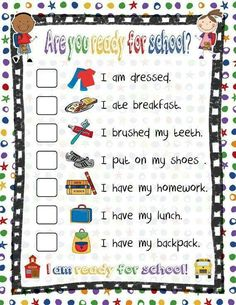 Ready for school checklist