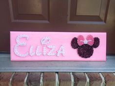 Custom Name String Art in Disney font with Minnie Mouse Design by BlossomsNKnots on Etsy https://www.etsy.com/listing/199487566/custom-name-string-art-in-disney-font