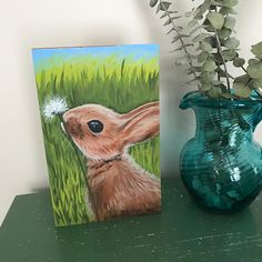 Baby bunny painting, cute bunny baby nursery art, woodland animal bunny kids room artwork, Children's wall art, wooden block bunny art #bunny #bunnyart #nurseryart #bunnynursery #farmhousedecor #animalwallart #bunnywallart #fuzzybunny