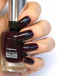 """The Happy Sloths: Sally Hansen Complete Salon Manicure Nail Polish in """"Pat on the Black"""": Dark Red Nails, Black Nail Polish, Nail Polish Colors, Black Nails, Sally Hansen, Joy Nails, Diy Nails Manicure, Cute Nail Colors, Nail Art For Beginners"""