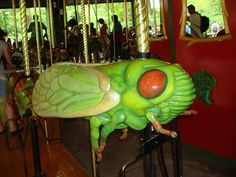 Cicada on the Bug Carousel by wombatarama, Mary Go Round, Moth Wings, Wooden Horse, Painted Pony, Garden Types, Carousel Horses, Save File, Ferris Wheels, Victorian Furniture