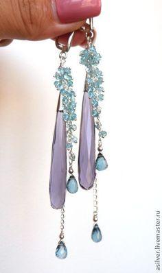 """Handmade earrings / Купить Серьги """"Лейсан"""" - серьги с аметистами, капли аметиста, лондон-топаз, топаз, апатит"""