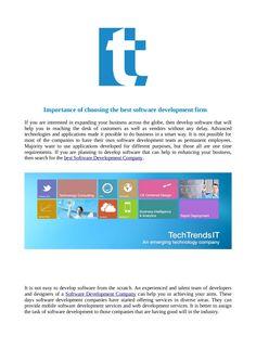 Techtrendsit software development company latest technology trends by TechTrendsIT via slideshare
