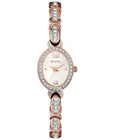 Bulova Women's Crystal Accent Rose Gold-Tone Stainless Steel Bracelet Watch 17mm 98L200 | macys.com