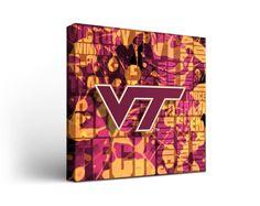 Virginia Tech Hokies Canvas Wall Art Fight Song Design (12x12)