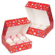 Valentine's Day Hearts Cupcake Box
