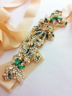 Items similar to Gold and Emerald Green Bridal Belt- Vintage Wedding- Swarovski Crystal Bridal Sash- One-of-a-Kind Hand-Beaded -Vintage Glamour on Etsy Diy Wedding Dress, Wedding Dress Sash, Bridal Sash, Wedding Ideas, Bridal Belts, Pearl Bridal, Wedding Outfits, Wedding Styles, Wedding Inspiration