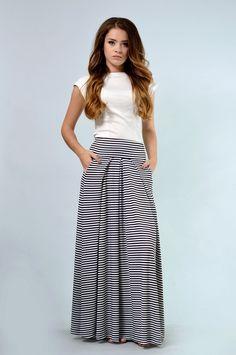 385a0e53a2 Lila Kass Women Black Stripes Skirt Striped Maxi Skirts, Stripe Skirt,  Black White Stripes