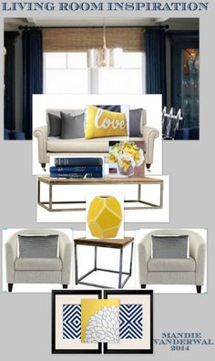 Color scheme Living room - navy, mustard yellow, and gray