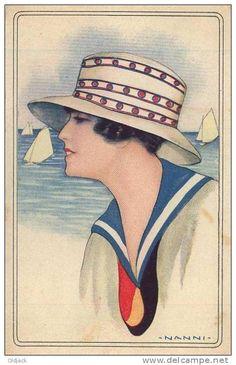 Illustrateur NANNI Femme avec Chapeau en tenue de Marin (Marine)