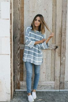 Striped tunic skinny jeans