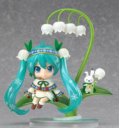 Nendoroid Snow Miku: Snow Bell Ver. | The theme this year was 'Plant Life in Winter', and the winning design was this fairy-like design by Taran! Rabbit Yukine is also included based on the adorable design by Hayuki! / The lilyheld by Rabbit Yukine can also be held by Miku instead! Other plant-themed optional parts are included (large leaf for use as an umbrella, & lily of the valley bells in the shape of a treble clef. A special lily of the valley base is also included, | Sched Rel 2015/02