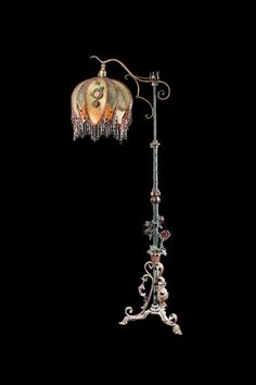 Antique Lampshade with Antique Tole Rose Floor lamp Beaded Victorian Ribbonwork Roses.