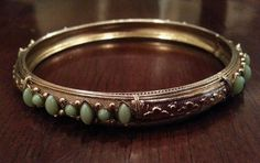 Vintage bracelet golden tone with lots of detail, with green deco in Jewelry & Watches | eBay