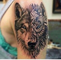 niebieskie, oczy, tatuaż, wilk