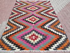 VINTAGE Turkish Kilim Rug Carpet Handwoven Kilim by sofART on Etsy