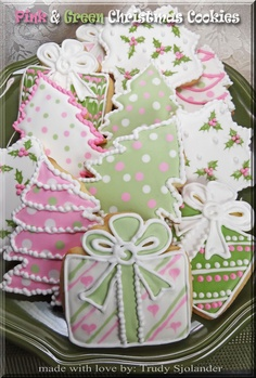 True's Gift's From the Heart  Pink and green tree, package, and frame decorated  Christmas sugar cookies.