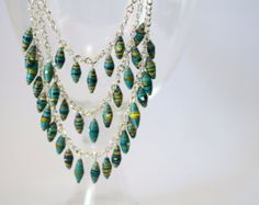 Emerald Green Long Tiered Paper Bead Necklace