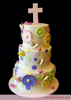 Click to enlarge Gerber Daisy First Holy Communion Cake