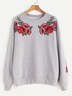 Online shopping for Heather Grey Drop Shoulder Rose Embroidered Sweatshirt from a great selection of women's fashion clothing & more at MakeMeChic.COM.