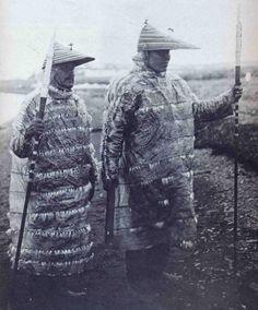 Aleut hunters in gut-skin jackets, Aleut Islands, Alaska.