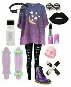 Pastell goth outfits Except the skateboard. I'd kill myself on it xD Wonderful Wedding Favors and Gi Cute Emo Outfits, Punk Outfits, Mode Outfits, Pretty Outfits, Batman Outfits, Grunge Outfits, Couple Outfits, Pastel Goth Fashion, Kawaii Fashion