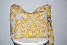 Messenger Style Camera Purse  Dslr, Cool Camera Bag for women / Removable Foam Padded  Insert  in  Yellow Damask   by Darby Mack. $89.00, via Etsy.