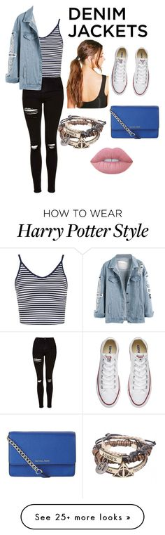 """Untitled #3"" by traceybb16 on Polyvore featuring Topshop, Converse, Boohoo, MICHAEL Michael Kors, Lime Crime, denimjackets and WardrobeStaples"