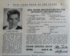 Frank Sinatra's Italian Tomato Sauce and Meatballs Frank Sinatra Dolly SInatra's Recipe for Spaghetti and Meatballs Retro Recipes, Old Recipes, Vintage Recipes, Italian Recipes, Cooking Recipes, Recipies, Italian Foods, Italian Cooking, Italian Cookbook