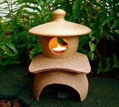 """Japanese ceramic Lantern, Yukimi(snow viewing), crafted by Japanese artist, Candle Holder, Zen garden, Asian Decor, made in Hawaii, 7 3/4""""H"""