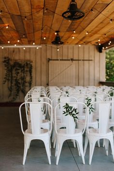 Wedding Venue Ideas Leafy accents on select chairs give the sweetest and most subtle earthy feel Brunch Wedding, Farm Wedding, Wedding Blog, Wedding Ceremony, Dream Wedding, Ceremony Seating, Summer Wedding, Wedding Venues, Eclectic Wedding