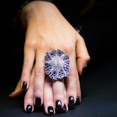 Palmiero sapphire and tanzanite ring BASELWORLD