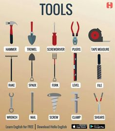 Tools and equipments English Speaking Skills, Learn English Grammar, English Writing Skills, English Vocabulary Words, Learn English Words, English Phrases, English Language Learning, Teaching English, Math Vocabulary