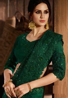Bottle Green Silk Designer Saree with Floral Embroidered Border Pakistani Dresses, Indian Dresses, Indian Outfits, Indian Attire, Bottle Green Saree, Green Lehenga, Modern Saree, Elegant Saree, Saree Dress