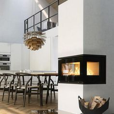 wood burning stove open plan room - Google Search