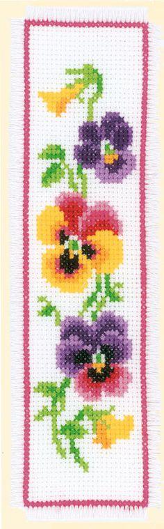 Boekenlegger: Kleurrijke Viooltjes Hier zijn diverse patronen verkrijgbaar