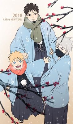 Happy New Year poster from Naruto, Kakashi, and Yamato