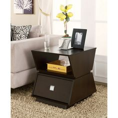 Furniture of America Geometric Modern Double Storage Cappuccino End Table - Overstock™ Shopping - Great Deals on Furniture of America Coffee, Sofa & End Tables
