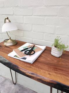 Walnut Slab Desk Table with Hairpin Legs